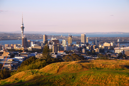 stunning hilltop panorama of auckland city as seen from local landmark, the dormant volcano mt eden.